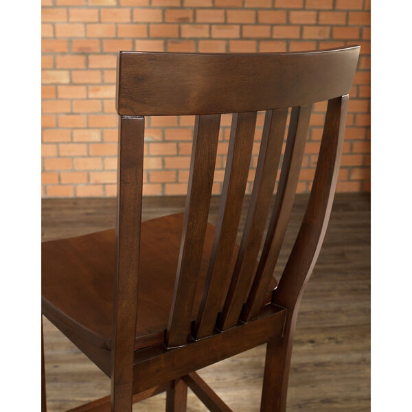 School House Bar Stool in Mahogany Finish with 30 Inch Seat Height- Set of Two, image 4