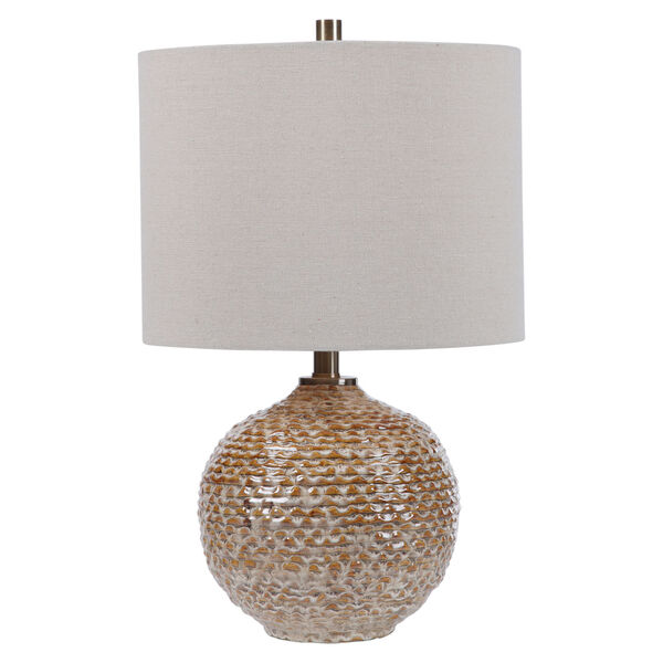 Lagos Brown and Light Brushed Brass One-Light Table Lamp with Round Drum Hardback Shade, image 1
