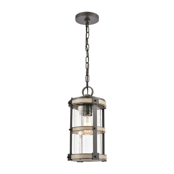 Crenshaw Anvil Iron and Distressed Antique Graywood One-Light Outdoor Pendant, image 1