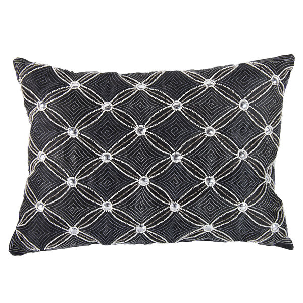 Gray 14 x 20-Inch Poly Silk Embellished Pillow, image 1