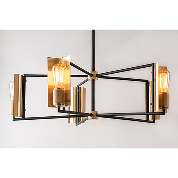 Cleo Black and Brass Five-Light Chandelier, image 2