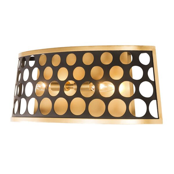 Bailey Matte Black French Gold Two-Light Bath Vanity, image 3