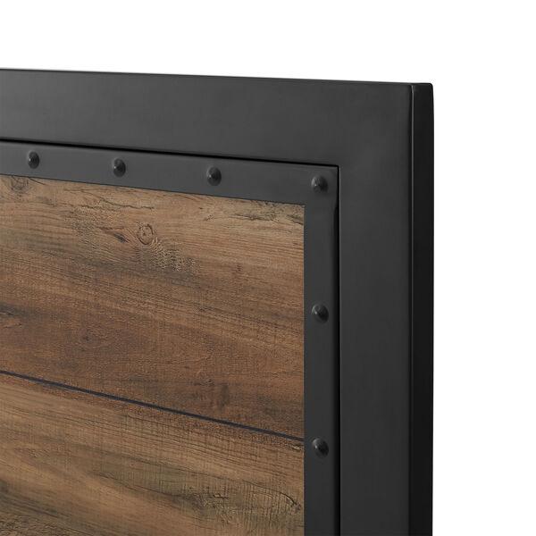 Queen Size Industrial Wood and Metal Bed - Rustic Oak, image 10