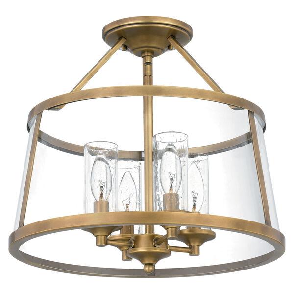 Barlow Weathered Brass Four-Light Semi-Flush Mount, image 3