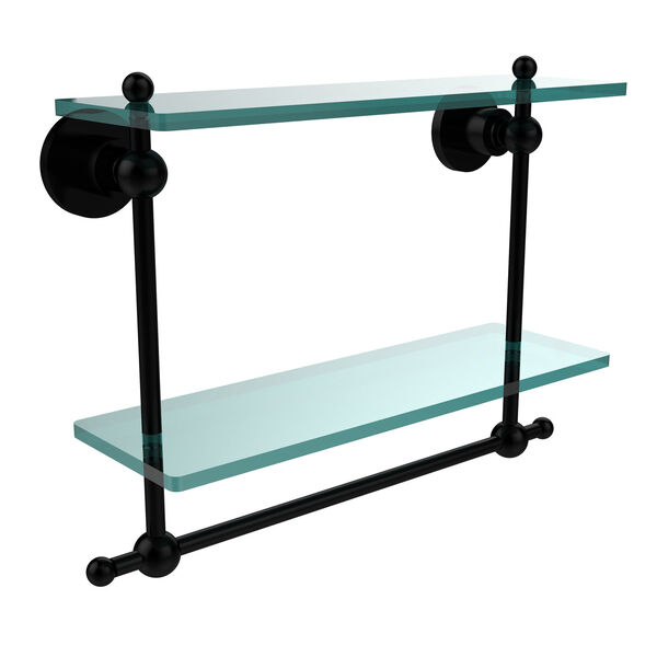 Astor Place Matte Black 16 Inch Double Glass Shelf with Towel Bar, image 1