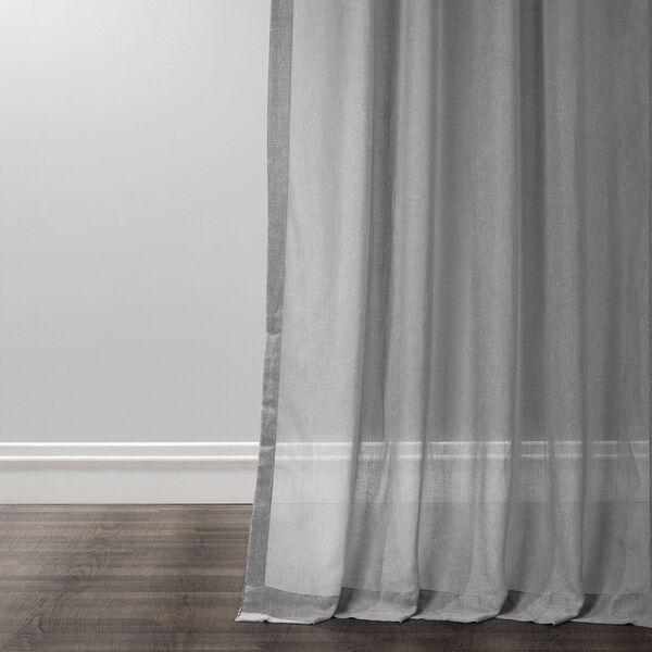 Nickel Faux Linen Sheer Single Panel Curtain Panel, 50 X 96, image 4