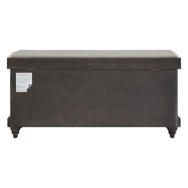 Potter Black Storage Bench with Linen Seat Cushion, image 4