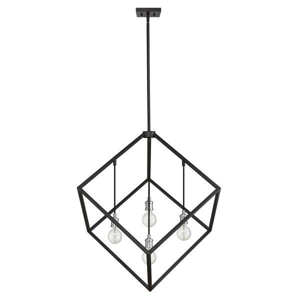 Vertical Matte Black and Brushed Nickel 34-Inch Four-Light Pendant, image 4