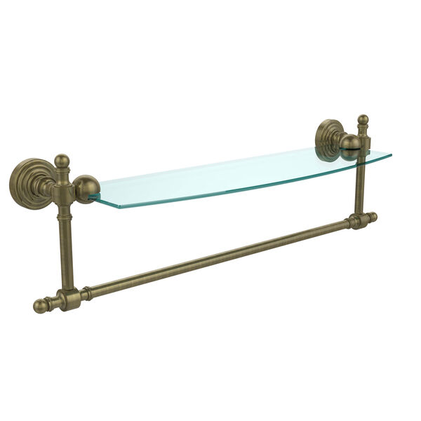 Retro Wave Antique Brass 18 Inch Glass Shelf w/ Towel Bar, image 1