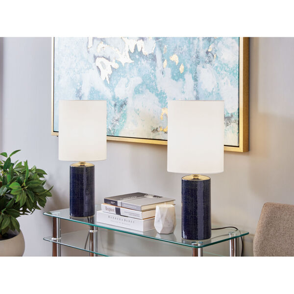 Jackie Navy Blue Two-Light Table Lamp, Set of Two, image 2