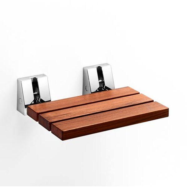 Complements Natural Teak/Polished Chrome Shower Refolding Seat, image 1