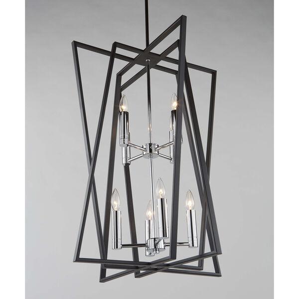 Middleton Matte Black and Polished Chrome Eight-Light Geometric Chandelier, image 2