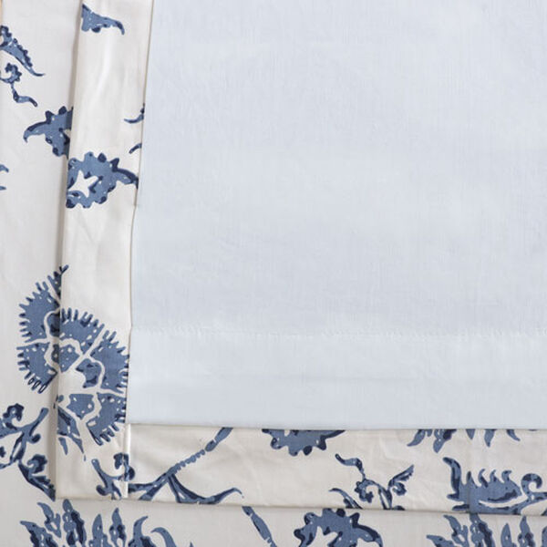 Royal Blue 84 x 50 In. Printed Cotton Twill Curtain Single Panel, image 6