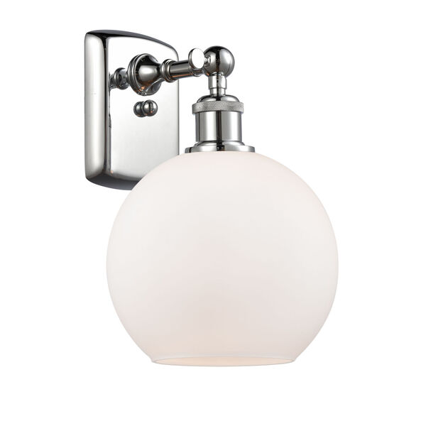 Ballston Polished Chrome Eight-Inch One-Light Wall Sconce with Matte White Glass Shade, image 1