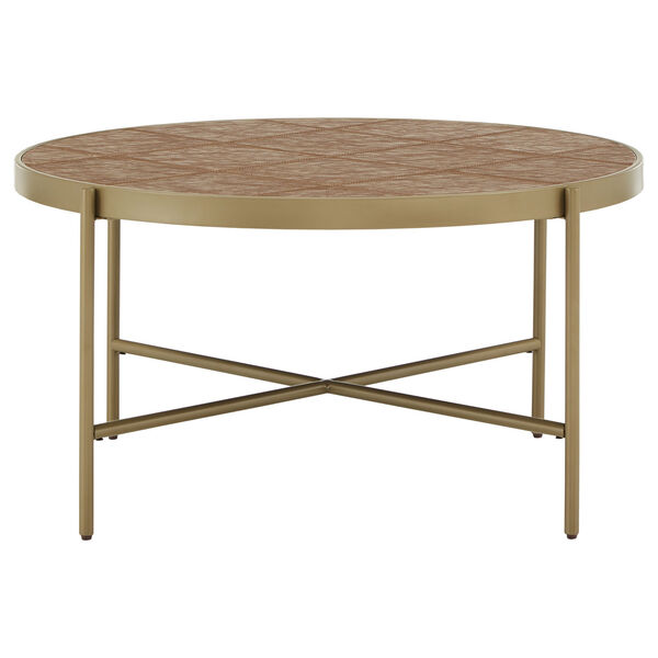 Dawson Gold and Faux Leather Coffee Table, image 2