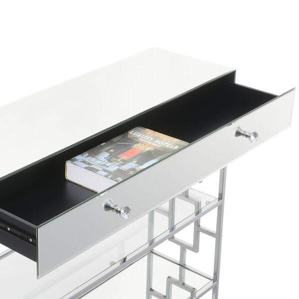 Town Square Mirror, Glass and Chrome Single Drawer Mirrored Console Table, image 5