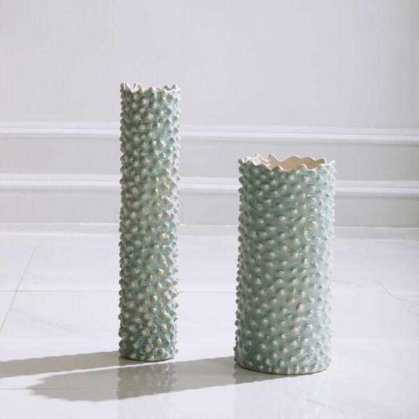 Ciji Aqua Ceramic Vases, Set of 2, image 2