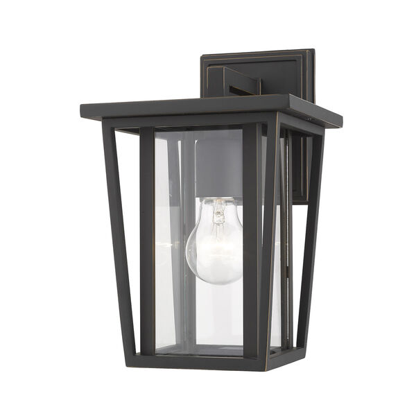 Seoul Oil Rubbed Bronze One-Light Outdoor Wall Sconce With Transparent Glass, image 1