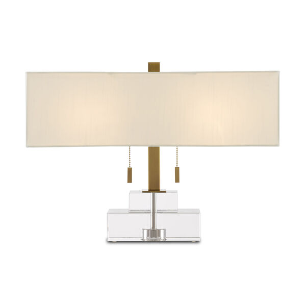 Chiara Clear and Antique Brass Two-Light Table Lamp, image 1