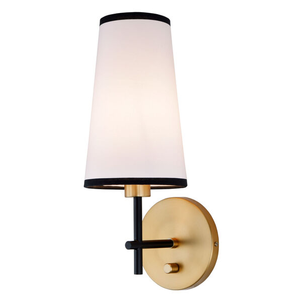 Bellevue Satin Brass and Black One-Light Wall Sconce, image 1