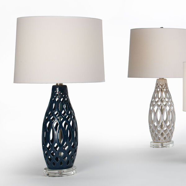 Cora Navy Blue and White One-Light Table Lamp, image 3