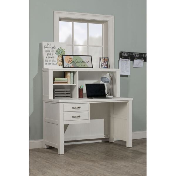 Highlands White Desk With Hutch, image 1