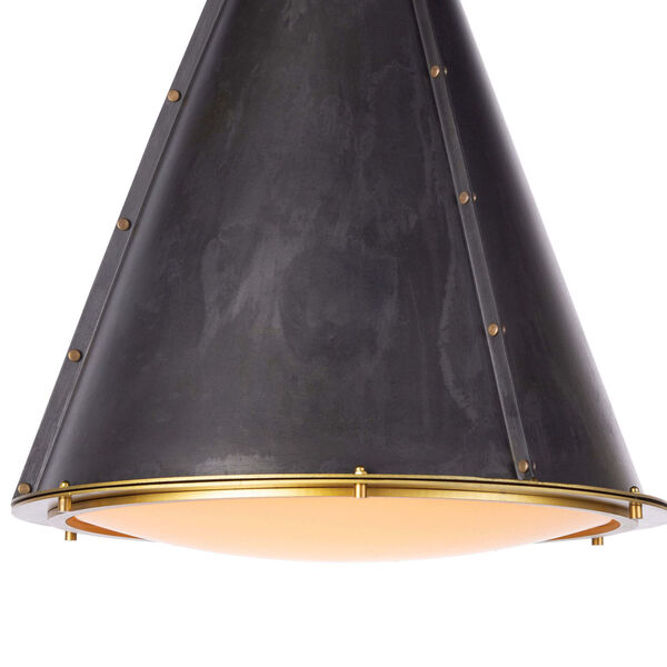 French Maid Blackened Brass One-Light Chandelier, image 4
