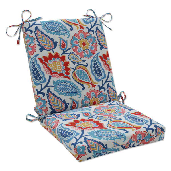 Moroccan Blue Red Yellow Chair Cushion, image 1