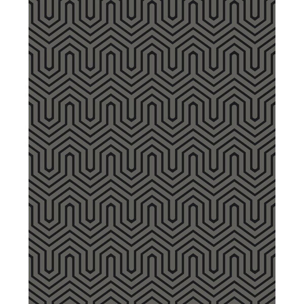 Ashford Geometrics Black Pearl and Black Labyrinth Wallpaper, image 1