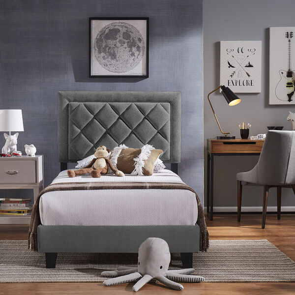 Lydia Gray and Black Twin Velvet Platform Bed, image 6