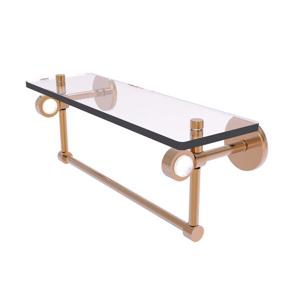 Clearview Brushed Bronze 16-Inch Glass Shelf with Towel Bar, image 1