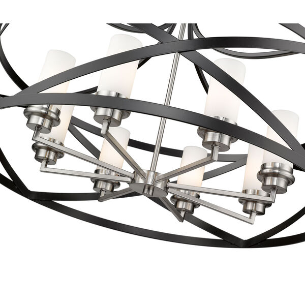 Malcalester Matte Black and Brushed Nickel Eight-Light Pendant, image 6