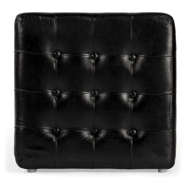 Accent Seating Leon Black Leather Ottoman, image 3