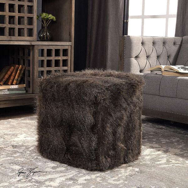 Jayna Charcoal Brown Fur Ottoman, image 2