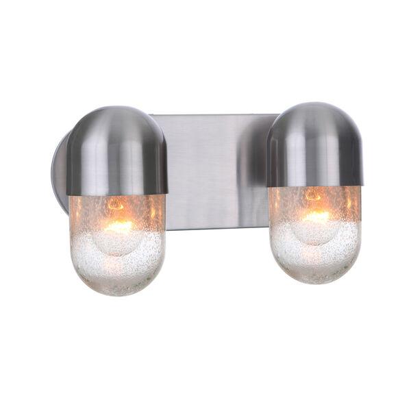 Pill Brushed Polished Nickel Two-Light Vanity Light, image 4