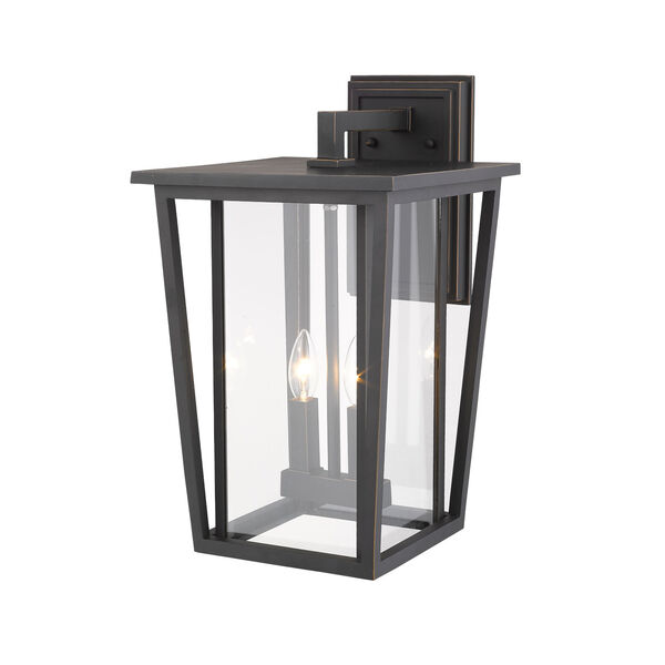 Seoul Oil Rubbed Bronze Two-Light Outdoor Wall Sconce With Transparent Glass, image 4