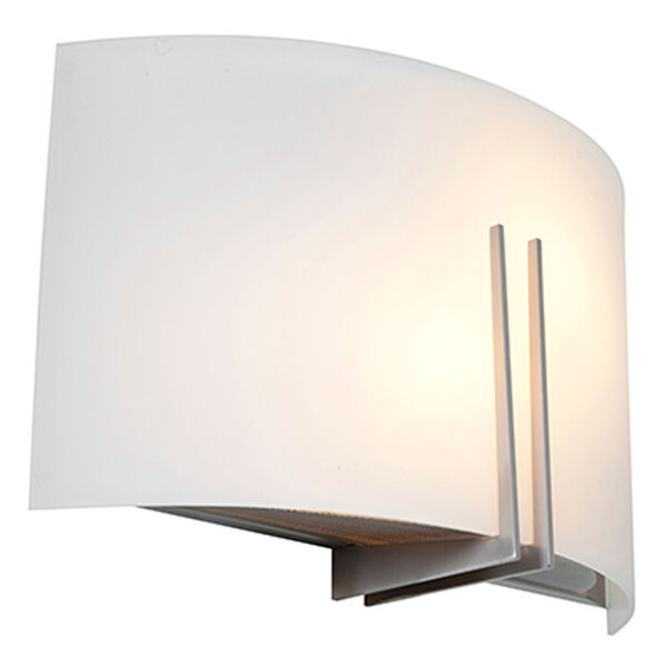 Prong Brushed Steel Two-Light Vanity with White Glass, image 1
