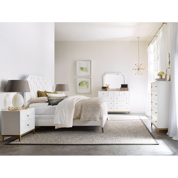 Chelsea by Rachael Ray White with Gold Accents Bedroom Mirror, image 3