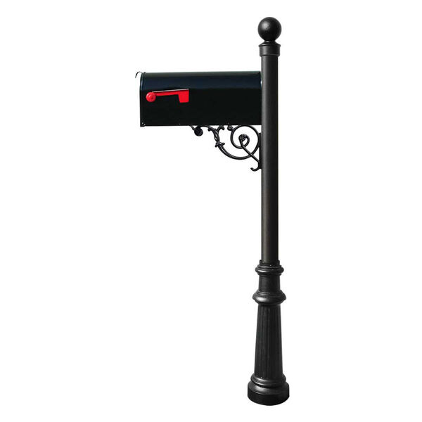 Lewiston Black Post with Support Brace, E1 Economy Mailbox, Fluted Base and Ball Finial, image 1