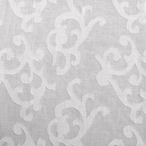 White Scroll Patterned Faux Linen Sheer 84 x 50 In. Curtain Single Panel, image 6