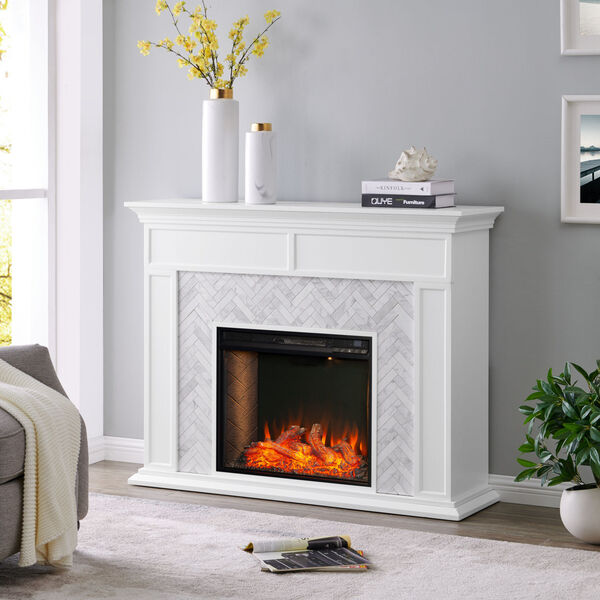 Torlington White Tiled Marble Electric Fireplace Mantel with Alexa Firebox, image 3