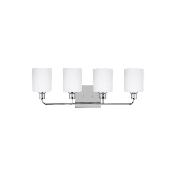 Canfield Chrome Four-Light Bath Vanity with Etched White Inside Shade, image 1