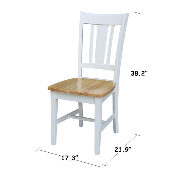 San Remo White Natural Chair, Set of Two, image 3