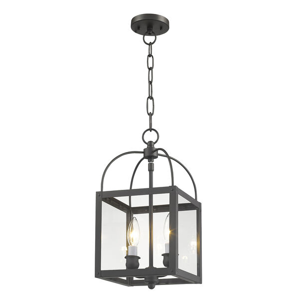 Milford Bronze Two-Light 15-Inch Convertible Pendant with Clear Glass, image 5