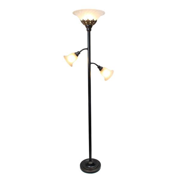 Quince Restoration Bronze Three-Light Floor Lamp with White Shade, image 2