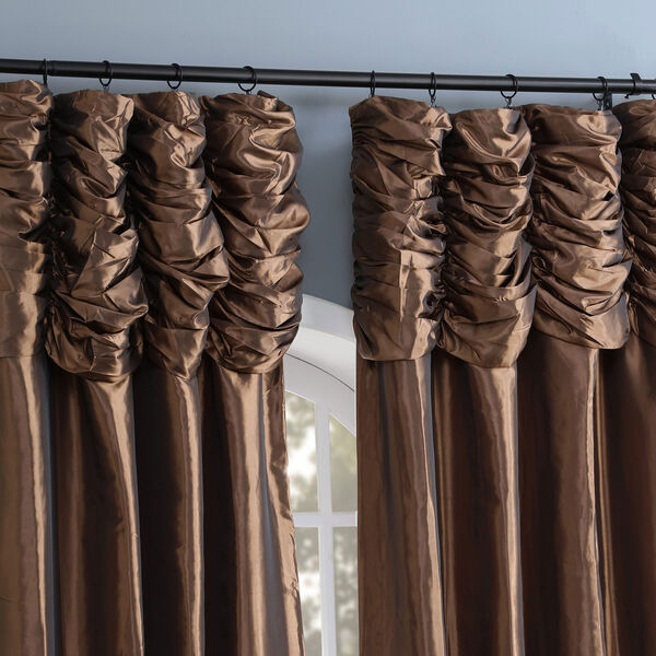 Ruched Mushroom 84 x 50-Inch Faux Silk Taffeta Curtain Single Panel, image 5