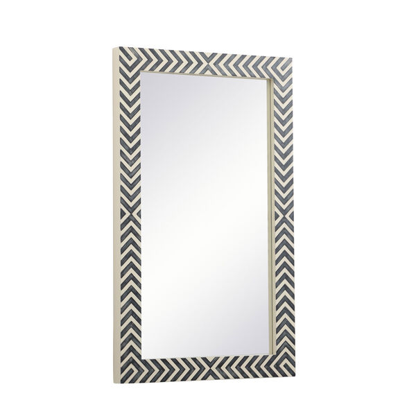 Colette Chevron 24 x 40 Inches Glass and Wood Rectangular Mirror, image 5