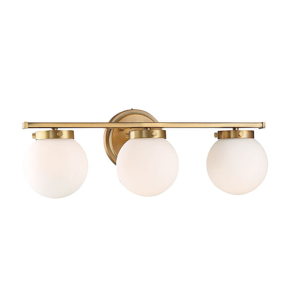 Nicollet Natural Brass Three-Light Bath Vanity with White Opal Glass, image 3