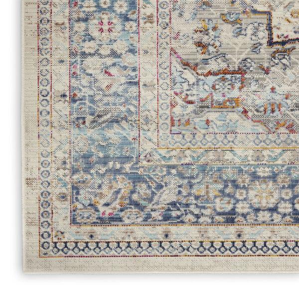 Vintage Kashan Ivory Blue Area Rug, image 5
