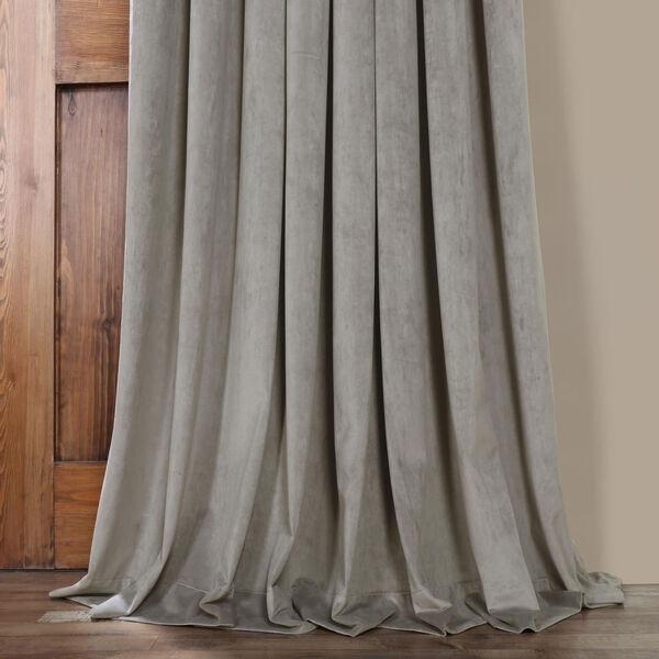 Silver Grey 96 x 100 In. Double Wide Grommet Blackout Velvet Curtain Single Panel, image 3